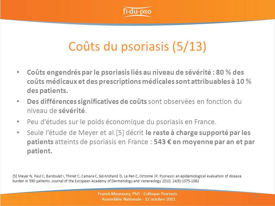 Coûts engendrés par le psoriasis liés au niveau de sévérité : 80 % des coûts médicaux et des prescriptions médicales sont attribuables à 10 % des pati