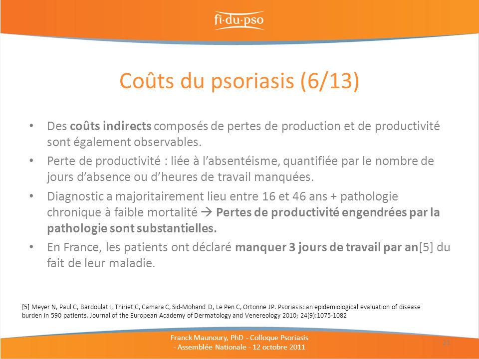 Des coûts indirects composés de pertes de production et de productivité sont également observables. Perte de productivité : liée à labsentéisme, quant