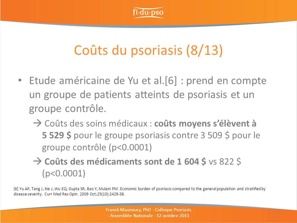 Etude américaine de Yu et al.[6] : prend en compte un groupe de patients atteints de psoriasis et un groupe contrôle. Coûts des soins médicaux : coûts