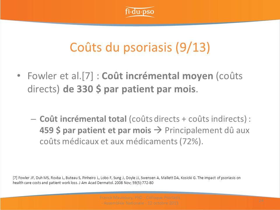 Fowler et al.[7] : Coût incrémental moyen (coûts directs) de 330 $ par patient par mois. – Coût incrémental total (coûts directs + coûts indirects) :
