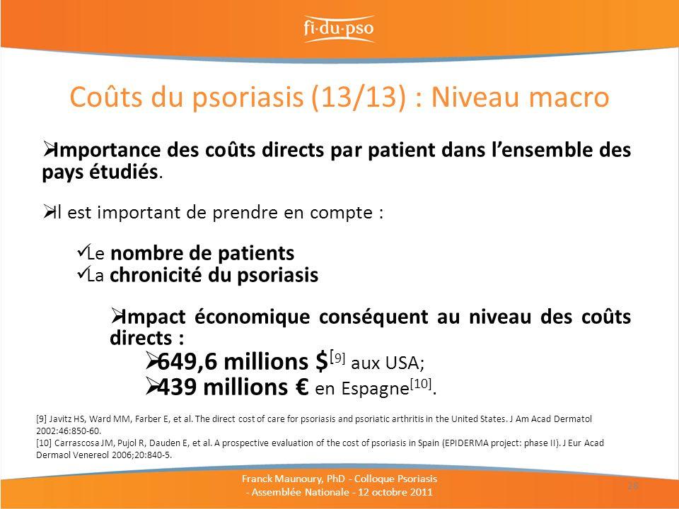 Coûts du psoriasis (13/13) : Niveau macro 28 Importance des coûts directs par patient dans lensemble des pays étudiés. Il est important de prendre en