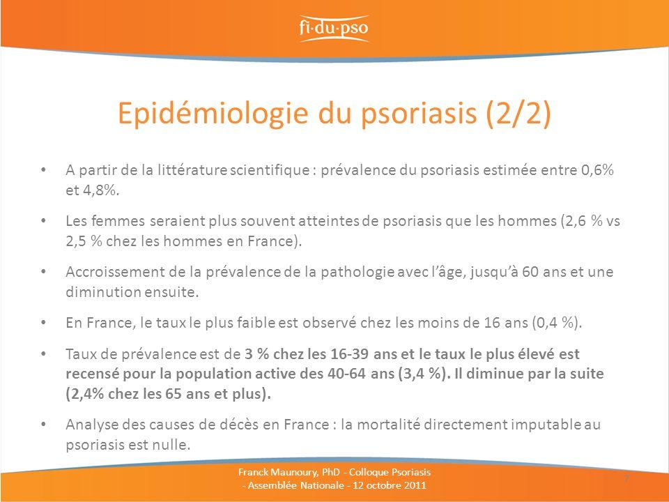 A partir de la littérature scientifique : prévalence du psoriasis estimée entre 0,6% et 4,8%. Les femmes seraient plus souvent atteintes de psoriasis