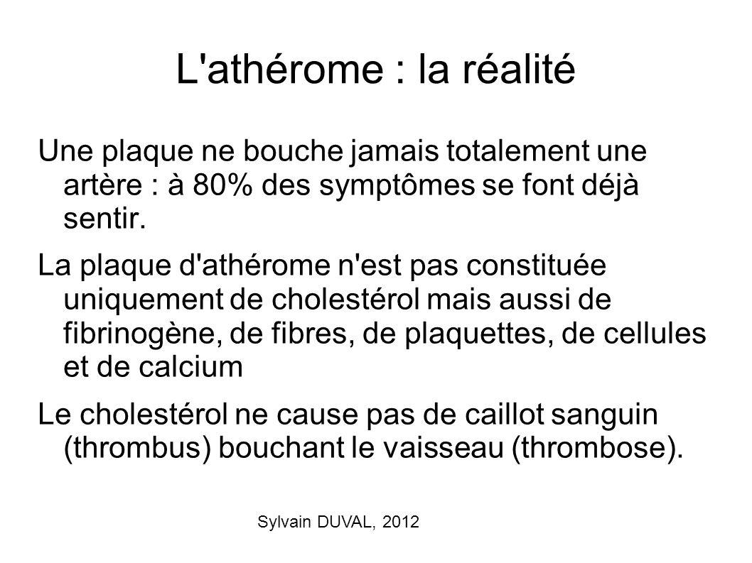 Sylvain DUVAL, 2012 L'athérome : la réalité Une plaque ne bouche jamais totalement une artère : à 80% des symptômes se font déjà sentir. La plaque d'a