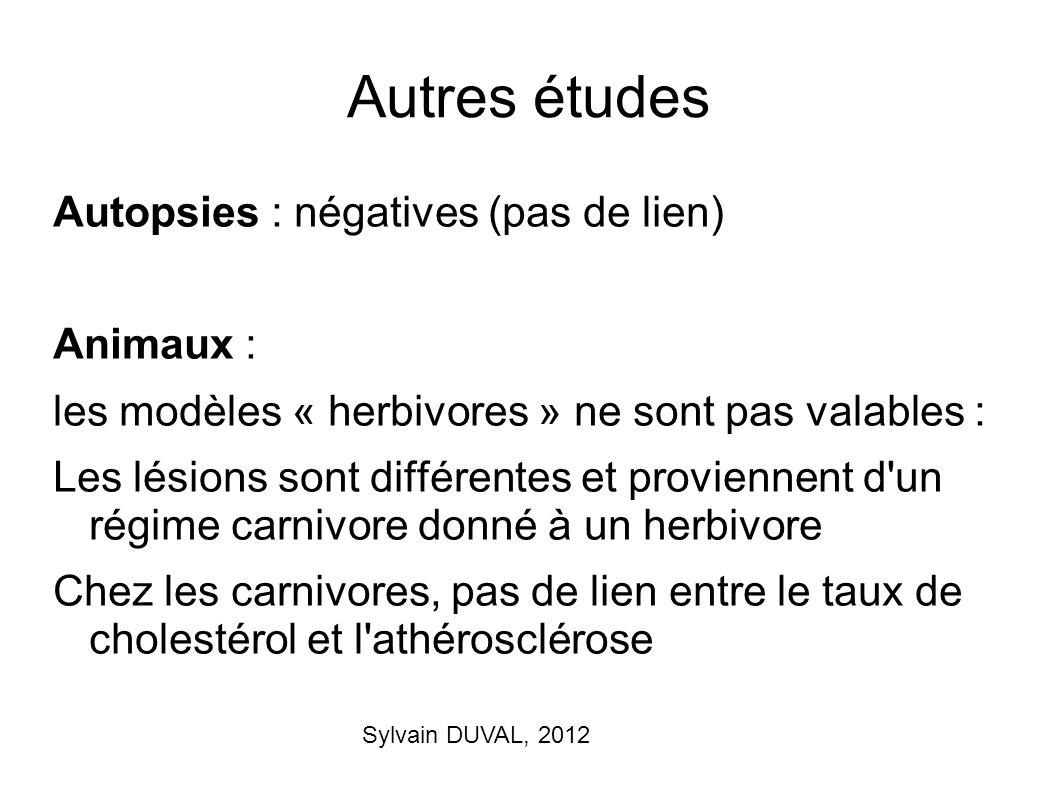 Sylvain DUVAL, 2012 Autres études Autopsies : négatives (pas de lien) Animaux : les modèles « herbivores » ne sont pas valables : Les lésions sont dif