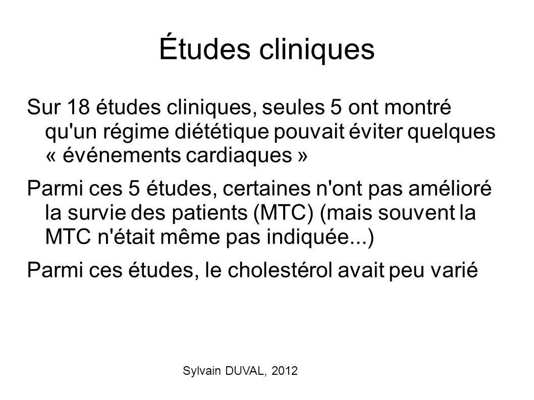 Sylvain DUVAL, 2012 Études cliniques Sur 18 études cliniques, seules 5 ont montré qu'un régime diététique pouvait éviter quelques « événements cardiaq