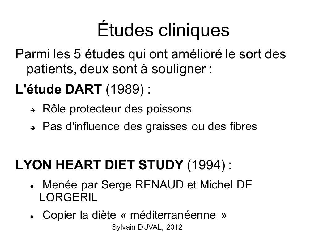 Sylvain DUVAL, 2012 Études cliniques Parmi les 5 études qui ont amélioré le sort des patients, deux sont à souligner : L'étude DART (1989) : Rôle prot