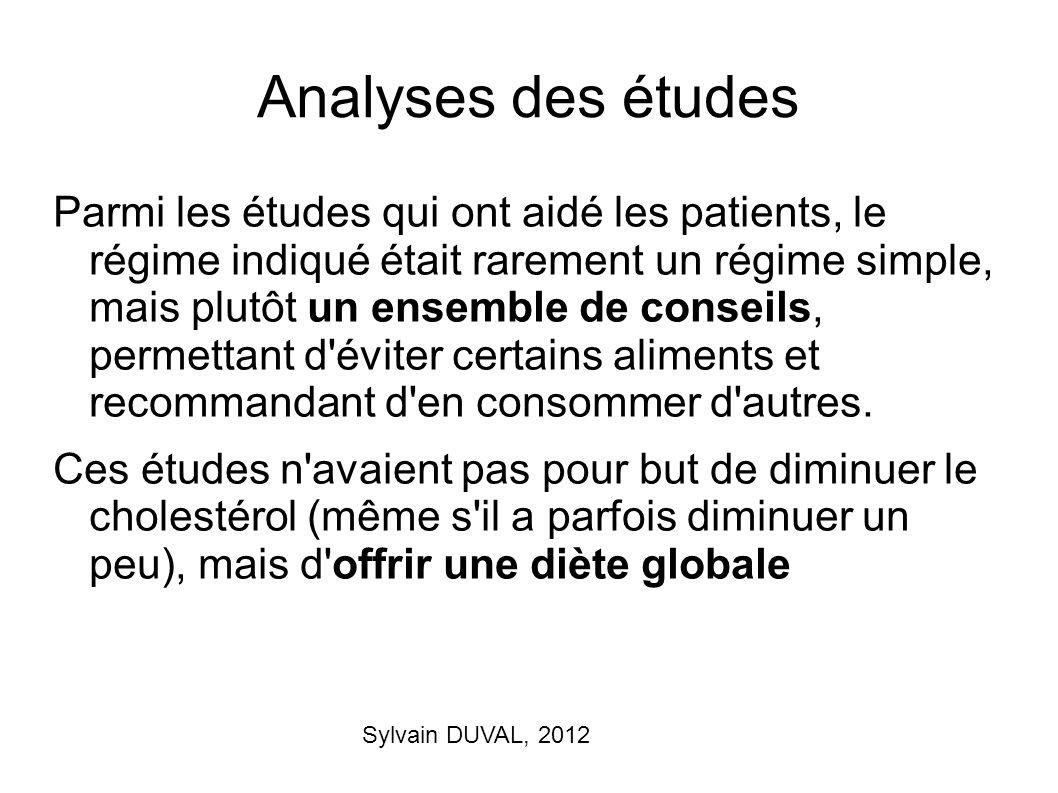 Sylvain DUVAL, 2012 Analyses des études Parmi les études qui ont aidé les patients, le régime indiqué était rarement un régime simple, mais plutôt un