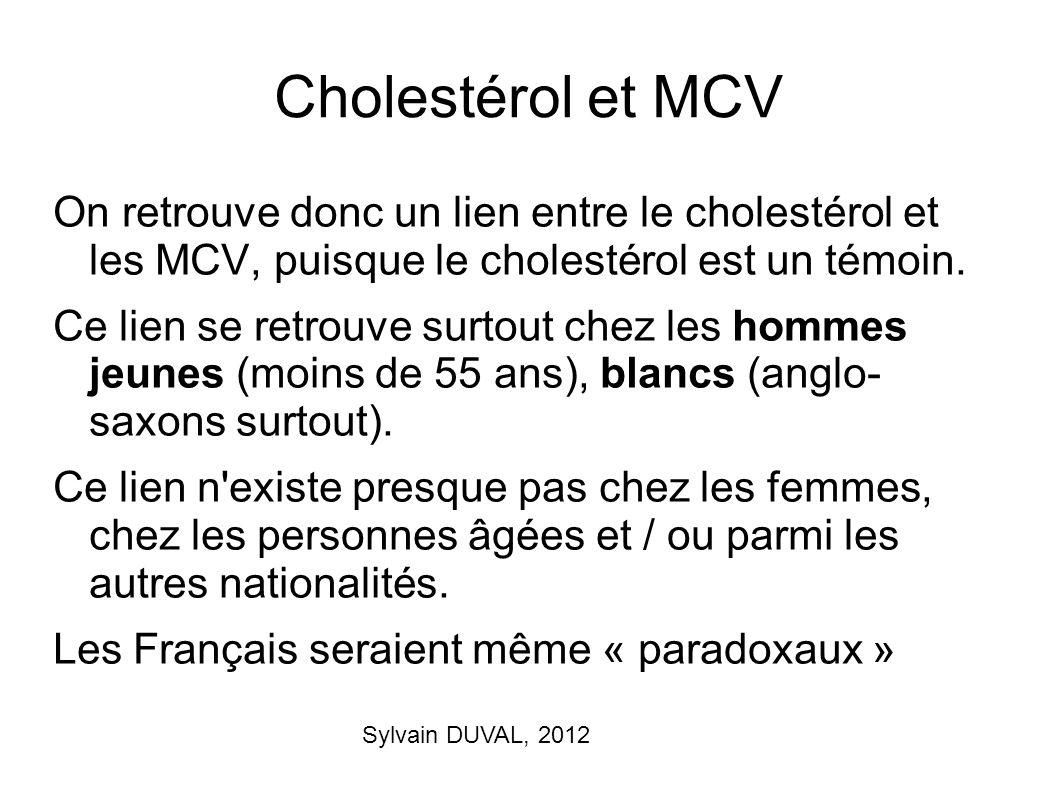 Sylvain DUVAL, 2012 Cholestérol et MCV On retrouve donc un lien entre le cholestérol et les MCV, puisque le cholestérol est un témoin. Ce lien se retr