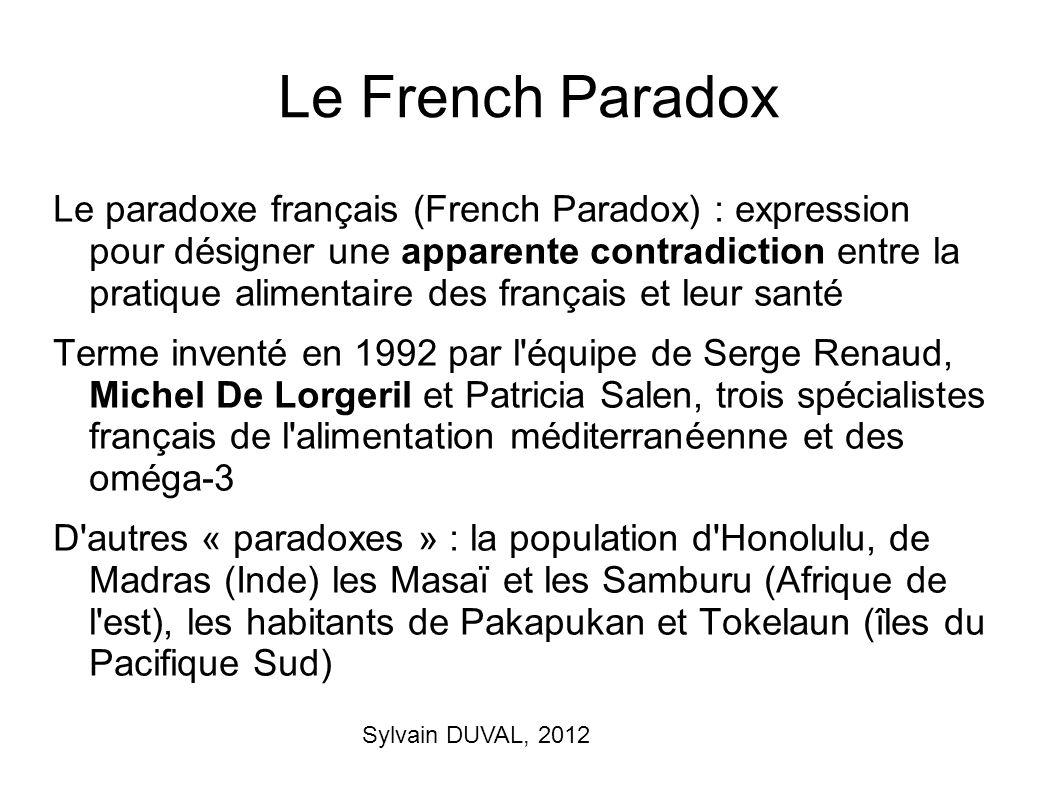 Sylvain DUVAL, 2012 Le French Paradox Le paradoxe français (French Paradox) : expression pour désigner une apparente contradiction entre la pratique a
