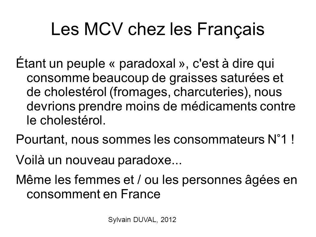 Sylvain DUVAL, 2012 Les MCV chez les Français Étant un peuple « paradoxal », c'est à dire qui consomme beaucoup de graisses saturées et de cholestérol