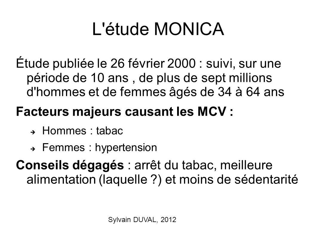 Sylvain DUVAL, 2012 L'étude MONICA Étude publiée le 26 février 2000 : suivi, sur une période de 10 ans, de plus de sept millions d'hommes et de femmes