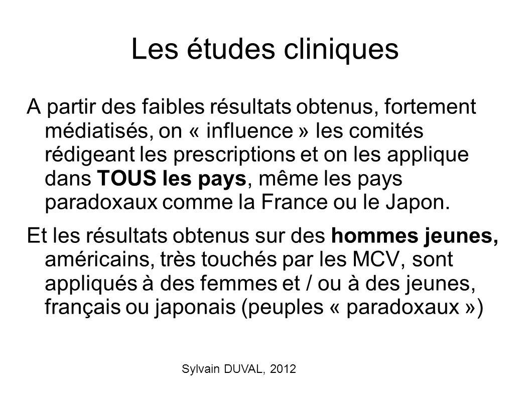 Sylvain DUVAL, 2012 Les études cliniques A partir des faibles résultats obtenus, fortement médiatisés, on « influence » les comités rédigeant les pres