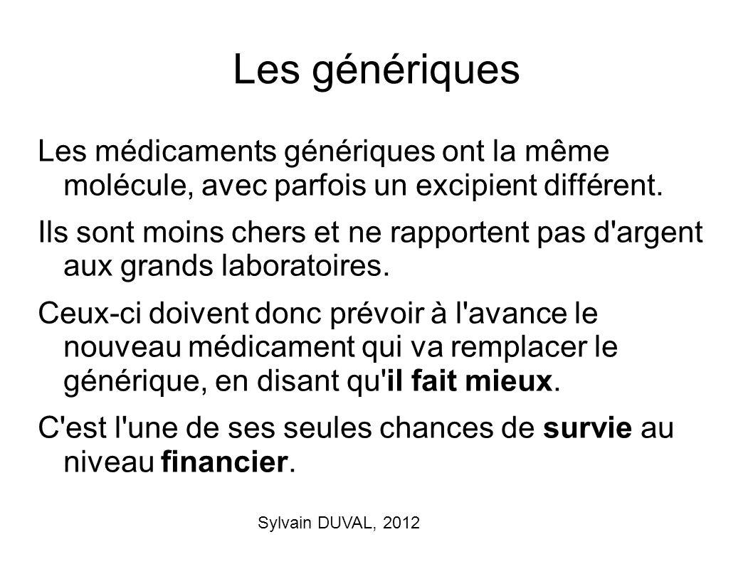 Sylvain DUVAL, 2012 Les génériques Les médicaments génériques ont la même molécule, avec parfois un excipient différent. Ils sont moins chers et ne ra