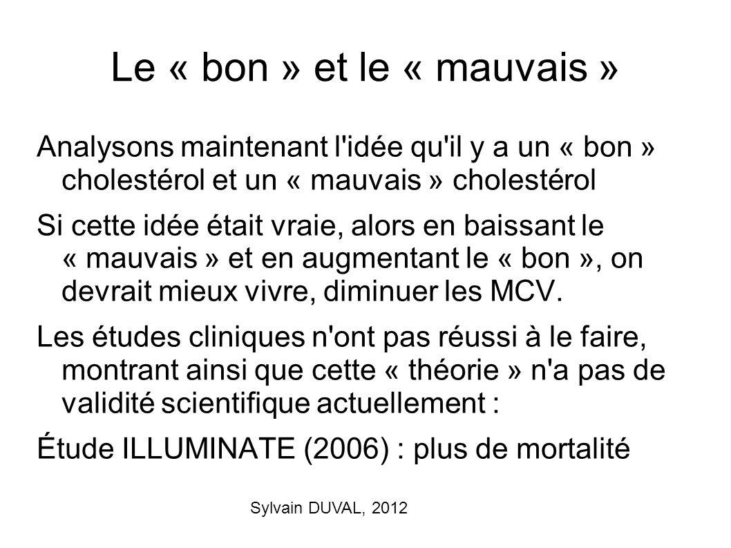 Sylvain DUVAL, 2012 Le « bon » et le « mauvais » Analysons maintenant l'idée qu'il y a un « bon » cholestérol et un « mauvais » cholestérol Si cette i