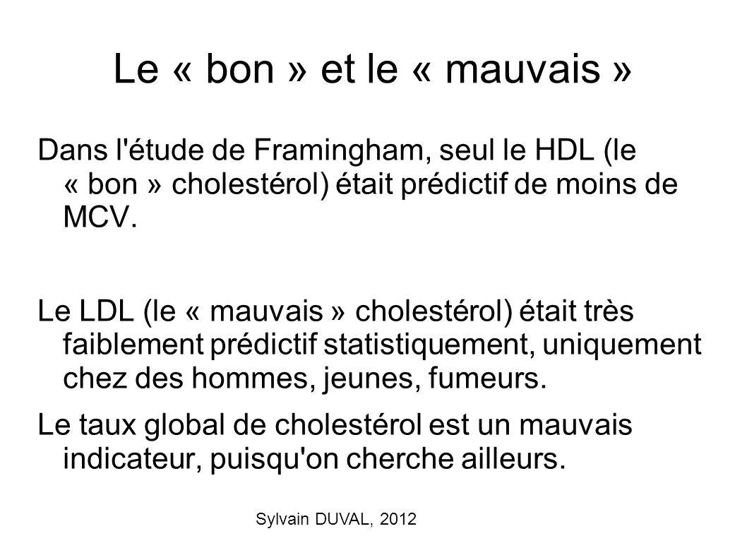 Sylvain DUVAL, 2012 Le « bon » et le « mauvais » Dans l'étude de Framingham, seul le HDL (le « bon » cholestérol) était prédictif de moins de MCV. Le