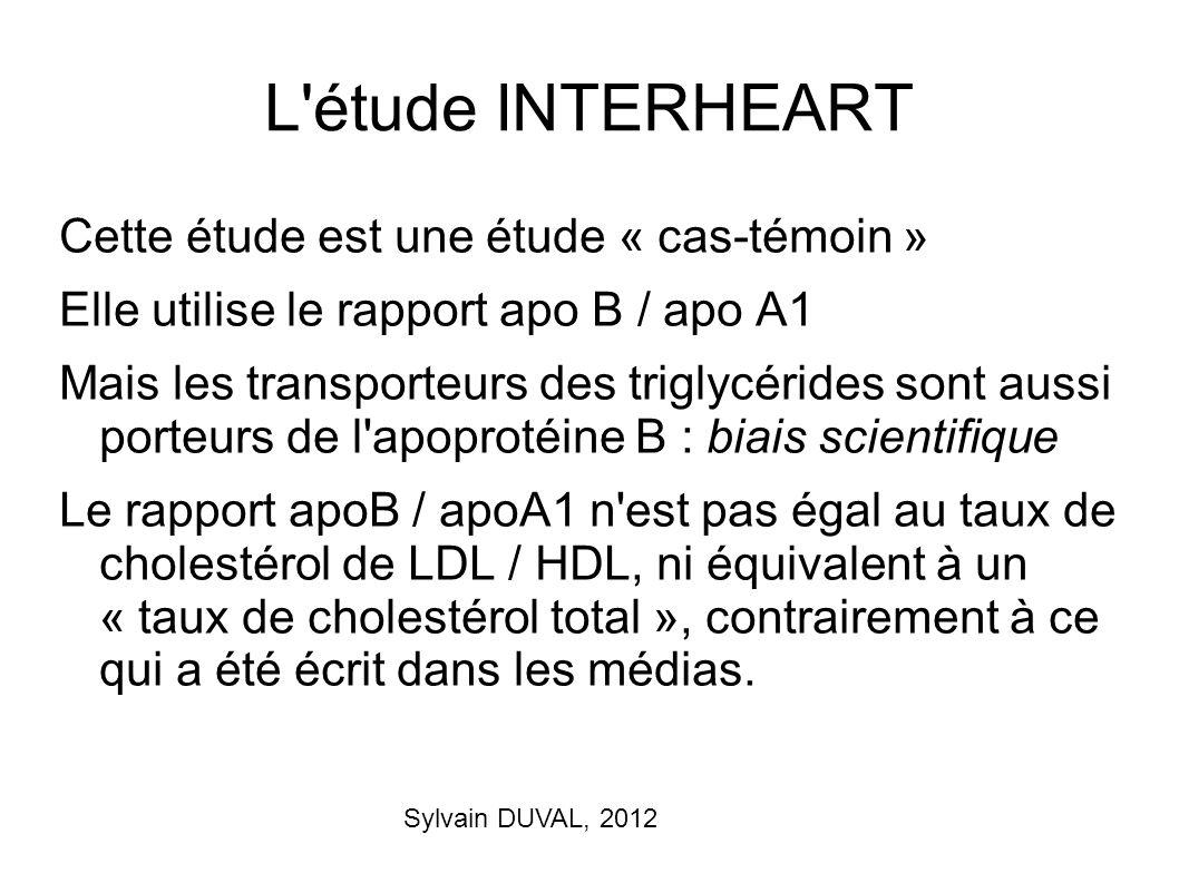 Sylvain DUVAL, 2012 L'étude INTERHEART Cette étude est une étude « cas-témoin » Elle utilise le rapport apo B / apo A1 Mais les transporteurs des trig