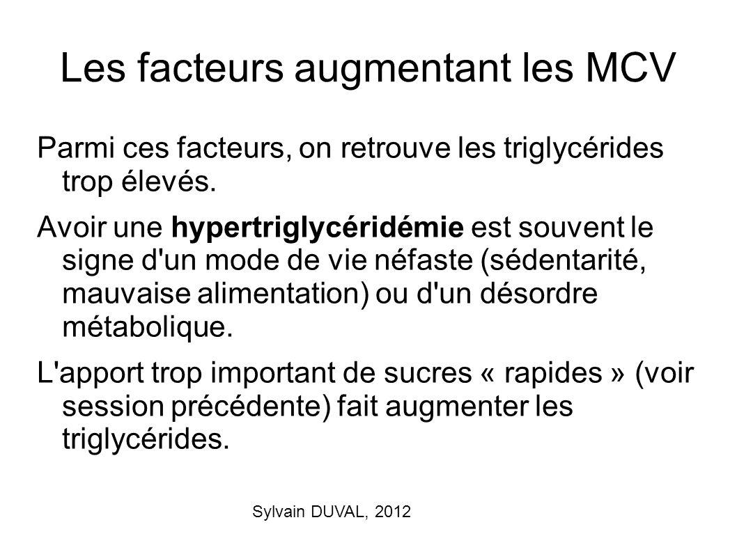 Sylvain DUVAL, 2012 Les facteurs augmentant les MCV Parmi ces facteurs, on retrouve les triglycérides trop élevés. Avoir une hypertriglycéridémie est