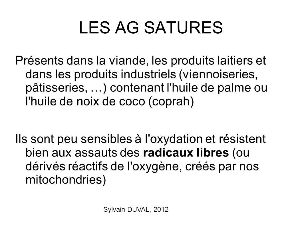 Sylvain DUVAL, 2012 LES AG SATURES Présents dans la viande, les produits laitiers et dans les produits industriels (viennoiseries, pâtisseries, …) con