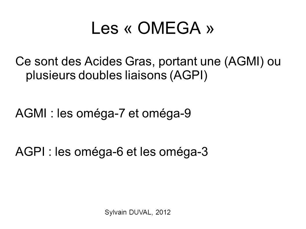 Sylvain DUVAL, 2012 Les « OMEGA » Ce sont des Acides Gras, portant une (AGMI) ou plusieurs doubles liaisons (AGPI) AGMI : les oméga-7 et oméga-9 AGPI