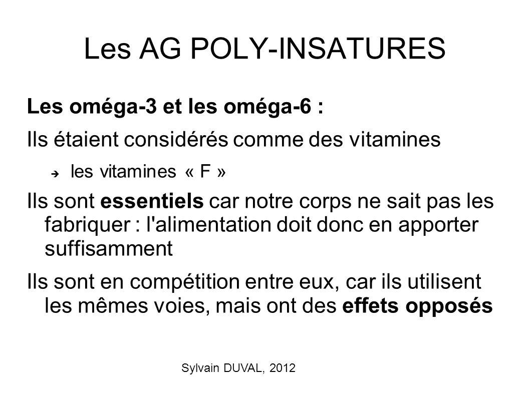 Sylvain DUVAL, 2012 Les AG POLY-INSATURES Les oméga-3 et les oméga-6 : Ils étaient considérés comme des vitamines les vitamines « F » Ils sont essenti