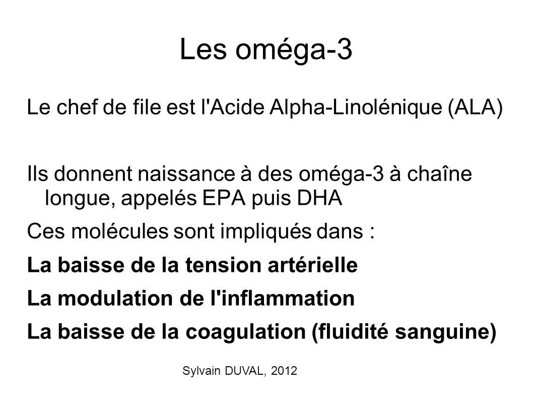 Sylvain DUVAL, 2012 Les oméga-3 Le chef de file est l'Acide Alpha-Linolénique (ALA) Ils donnent naissance à des oméga-3 à chaîne longue, appelés EPA p