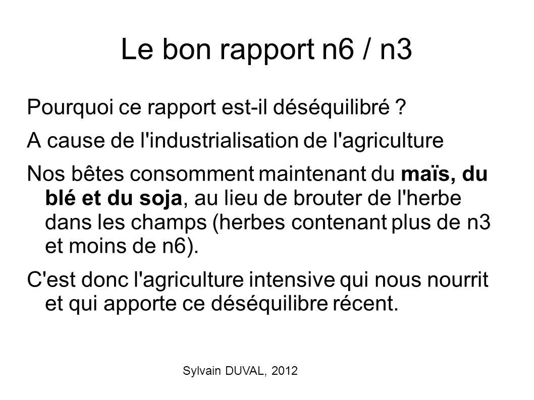 Sylvain DUVAL, 2012 Le bon rapport n6 / n3 Pourquoi ce rapport est-il déséquilibré ? A cause de l'industrialisation de l'agriculture Nos bêtes consomm
