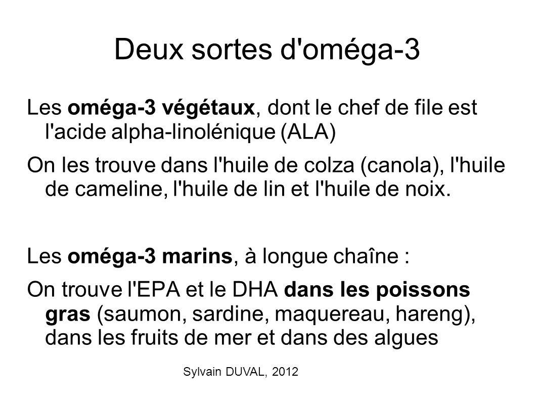 Sylvain DUVAL, 2012 Deux sortes d'oméga-3 Les oméga-3 végétaux, dont le chef de file est l'acide alpha-linolénique (ALA) On les trouve dans l'huile de