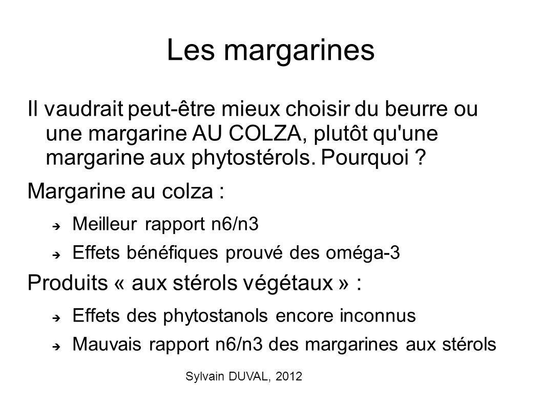 Sylvain DUVAL, 2012 Les margarines Il vaudrait peut-être mieux choisir du beurre ou une margarine AU COLZA, plutôt qu'une margarine aux phytostérols.