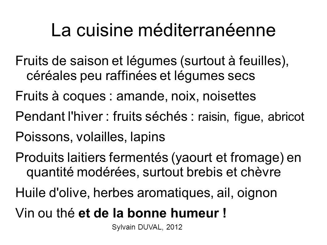 Sylvain DUVAL, 2012 La cuisine méditerranéenne Fruits de saison et légumes (surtout à feuilles), céréales peu raffinées et légumes secs Fruits à coque