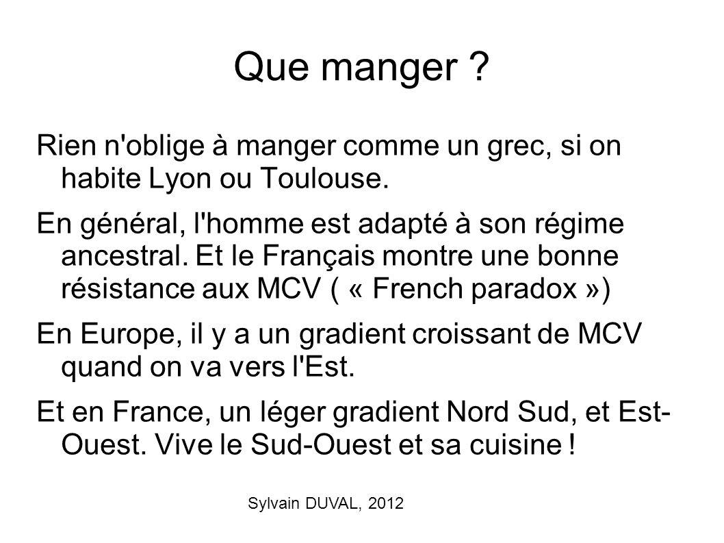 Sylvain DUVAL, 2012 Que manger ? Rien n'oblige à manger comme un grec, si on habite Lyon ou Toulouse. En général, l'homme est adapté à son régime ance