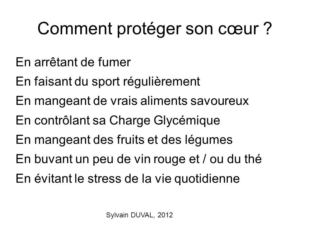 Sylvain DUVAL, 2012 Comment protéger son cœur ? En arrêtant de fumer En faisant du sport régulièrement En mangeant de vrais aliments savoureux En cont