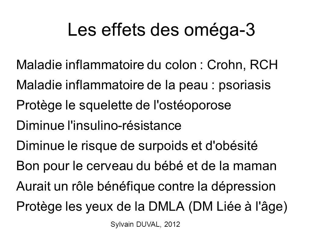 Sylvain DUVAL, 2012 Les effets des oméga-3 Maladie inflammatoire du colon : Crohn, RCH Maladie inflammatoire de la peau : psoriasis Protège le squelet