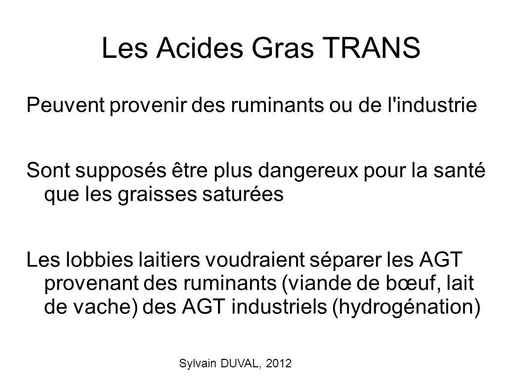 Sylvain DUVAL, 2012 Les Acides Gras TRANS Peuvent provenir des ruminants ou de l'industrie Sont supposés être plus dangereux pour la santé que les gra