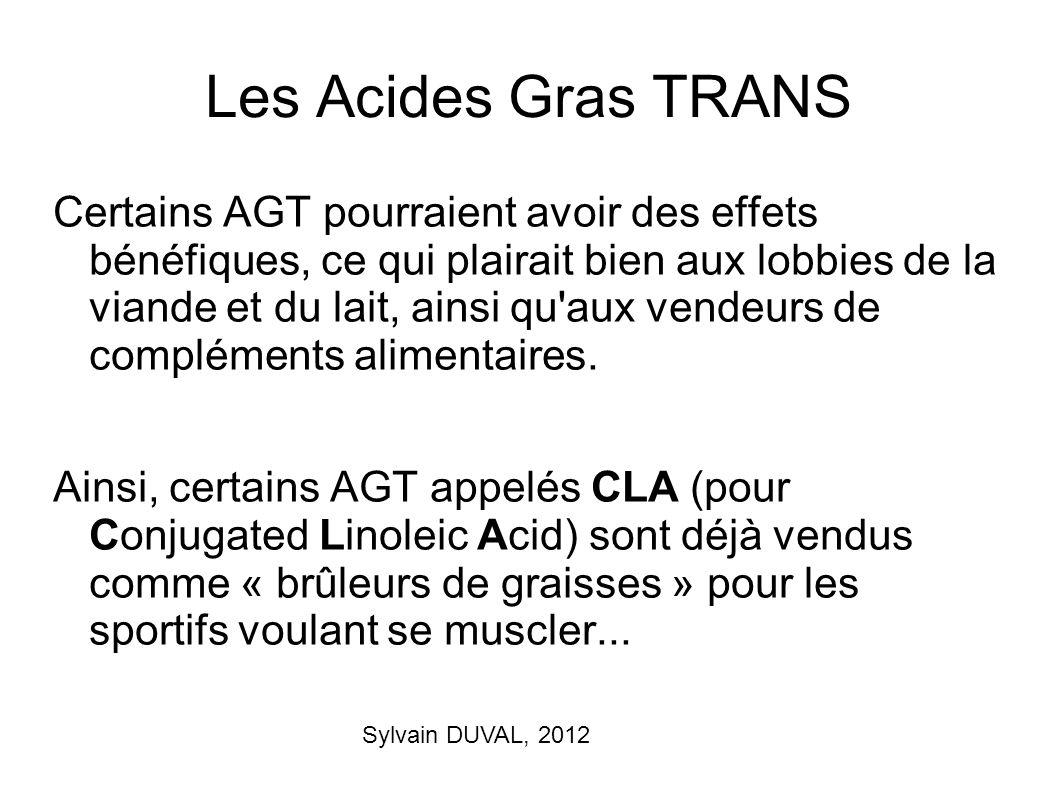 Sylvain DUVAL, 2012 Les Acides Gras TRANS Certains AGT pourraient avoir des effets bénéfiques, ce qui plairait bien aux lobbies de la viande et du lai