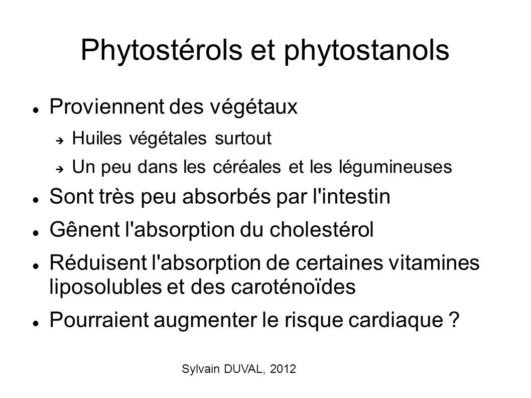 Sylvain DUVAL, 2012 Phytostérols et phytostanols Proviennent des végétaux Huiles végétales surtout Un peu dans les céréales et les légumineuses Sont t