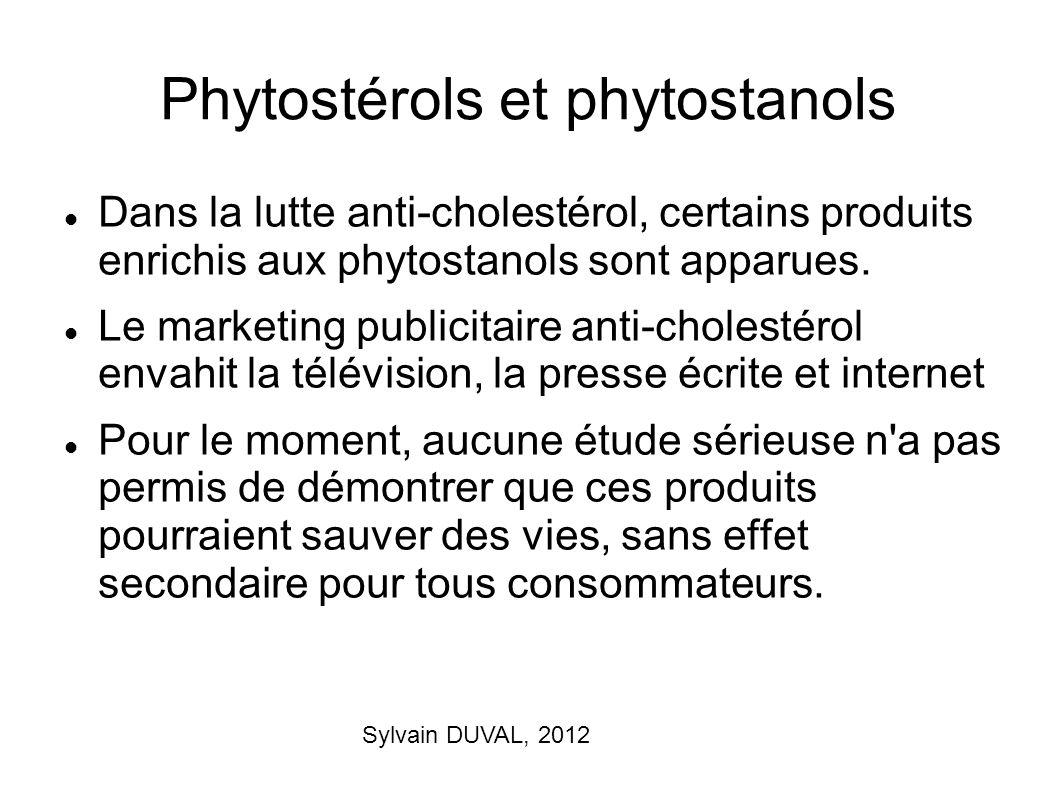 Sylvain DUVAL, 2012 Phytostérols et phytostanols Dans la lutte anti-cholestérol, certains produits enrichis aux phytostanols sont apparues. Le marketi