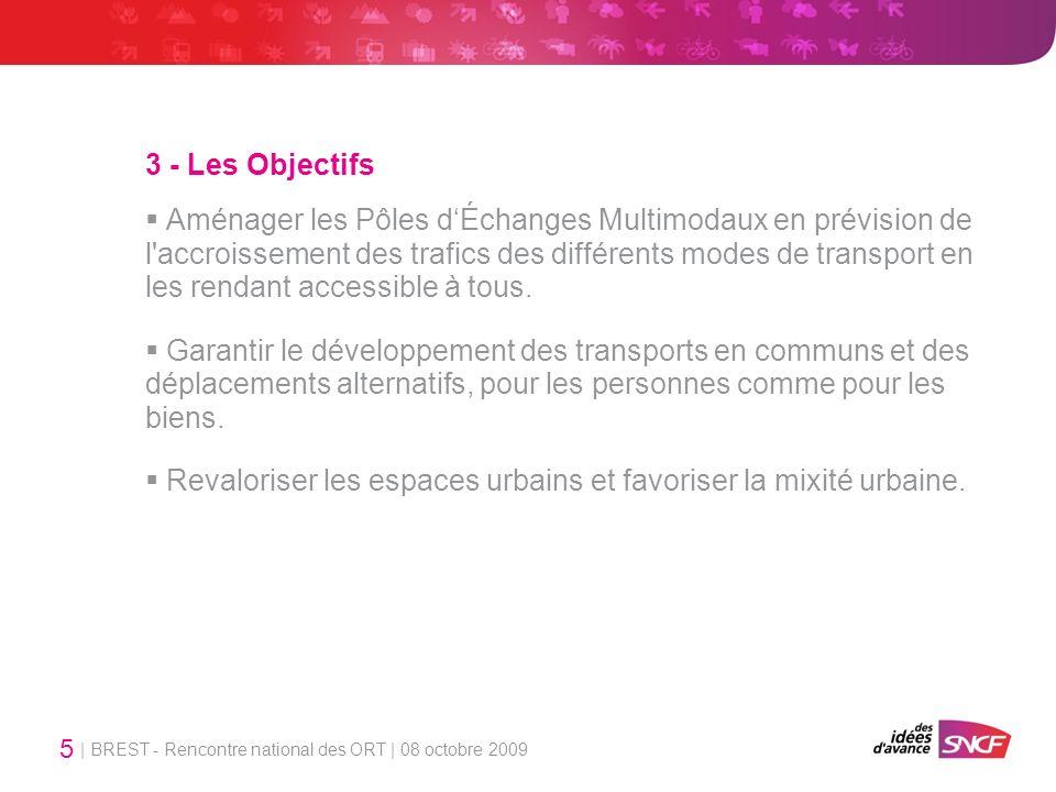 | BREST - Rencontre national des ORT | 08 octobre 2009 5 3 - Les Objectifs Aménager les Pôles dÉchanges Multimodaux en prévision de l accroissement des trafics des différents modes de transport en les rendant accessible à tous.