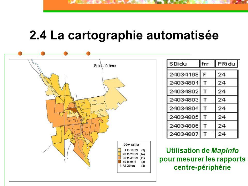 2.4 La cartographie automatisée Utilisation de MapInfo pour mesurer les rapports centre-périphérie