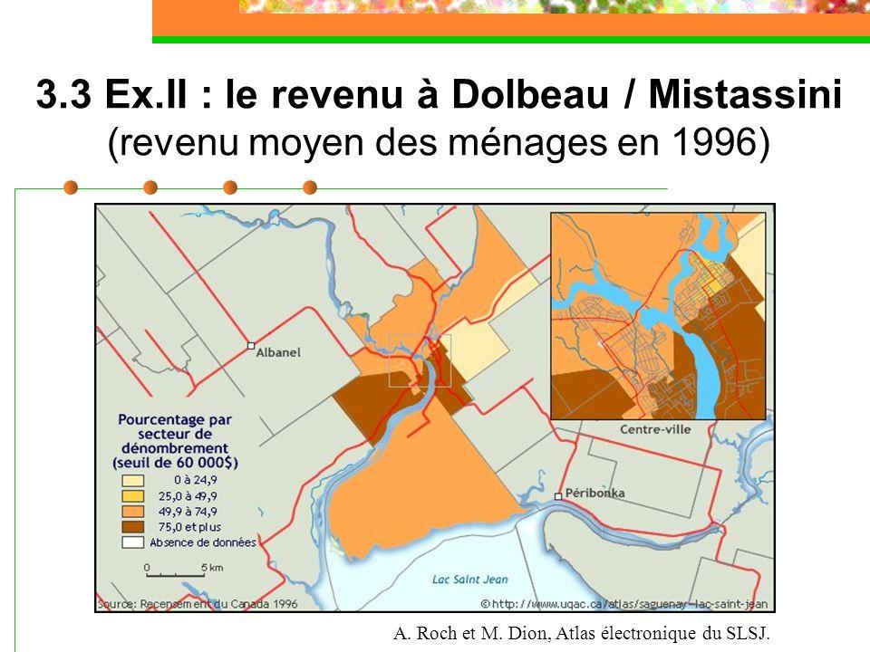 3.3 La dynamique sociale de Dolbeau / Mistassini A. Roch et M. Dion, Atlas électronique du SLSJ. 3.3 Ex.II : le revenu à Dolbeau / Mistassini (revenu