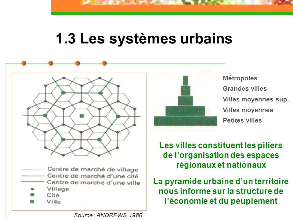 1.3 Les systèmes urbains Source : ANDREWS, 1980 Les villes constituent les piliers de lorganisation des espaces régionaux et nationaux La pyramide urb
