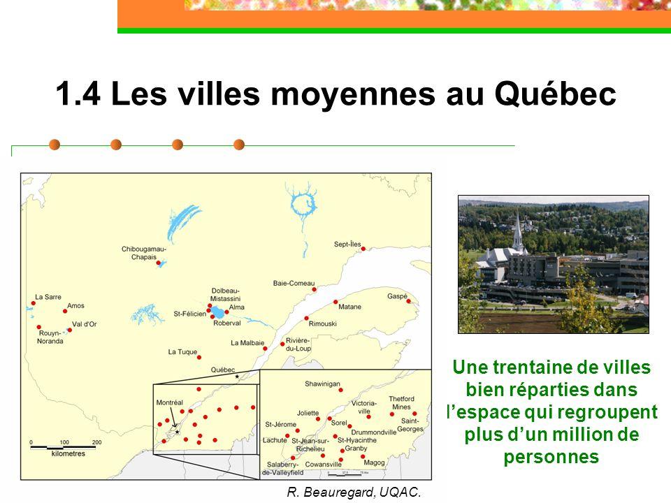 1.4 Les villes moyennes au Québec Une trentaine de villes bien réparties dans lespace qui regroupent plus dun million de personnes R. Beauregard, UQAC