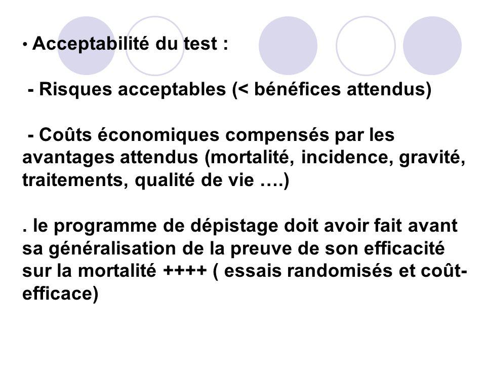 Acceptabilité du test : - Risques acceptables (< bénéfices attendus) - Coûts économiques compensés par les avantages attendus (mortalité, incidence, gravité, traitements, qualité de vie ….).