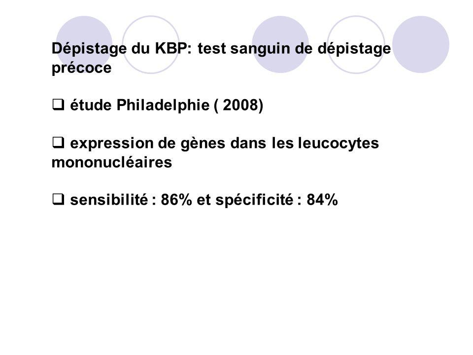 Dépistage du KBP: test sanguin de dépistage précoce étude Philadelphie ( 2008) expression de gènes dans les leucocytes mononucléaires sensibilité : 86% et spécificité : 84%