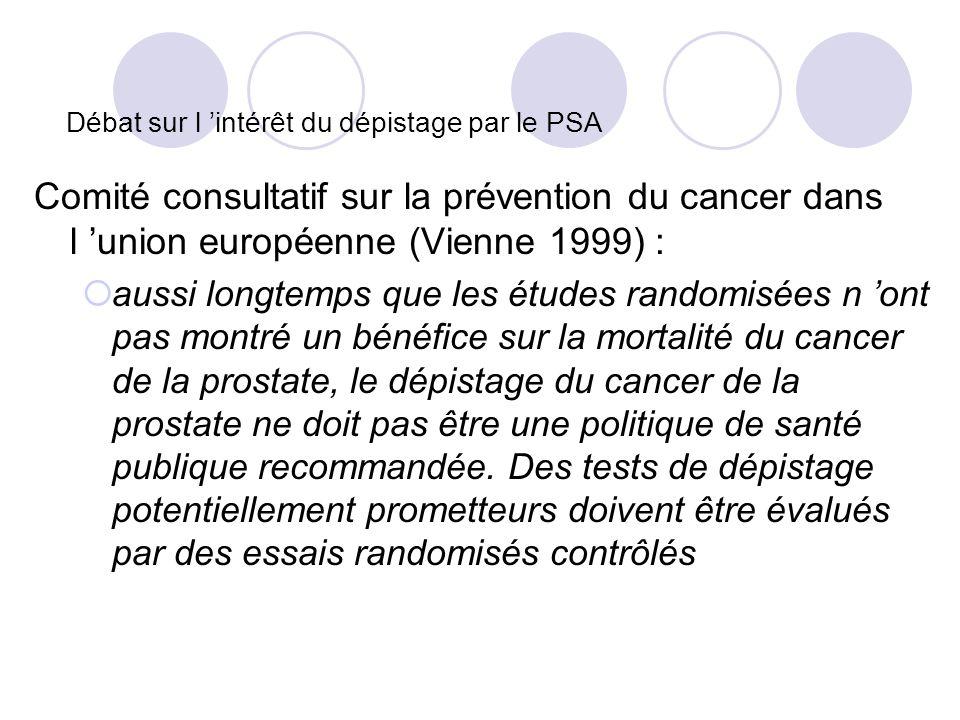 Débat sur l intérêt du dépistage par le PSA Comité consultatif sur la prévention du cancer dans l union européenne (Vienne 1999) : aussi longtemps que les études randomisées n ont pas montré un bénéfice sur la mortalité du cancer de la prostate, le dépistage du cancer de la prostate ne doit pas être une politique de santé publique recommandée.