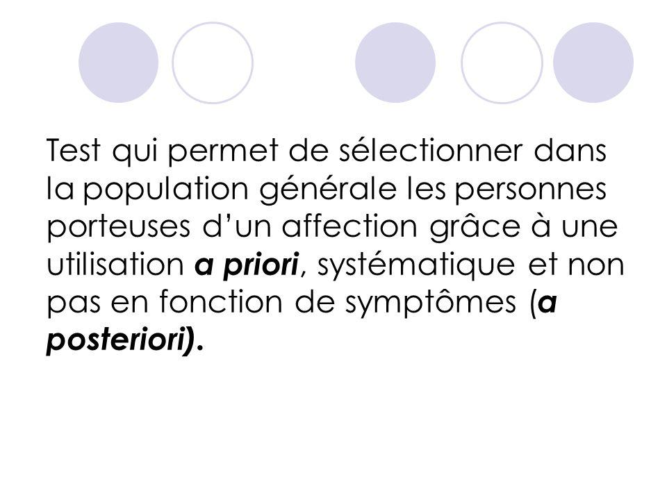 Test qui permet de sélectionner dans la population générale les personnes porteuses dun affection grâce à une utilisation a priori, systématique et non pas en fonction de symptômes ( a posteriori).