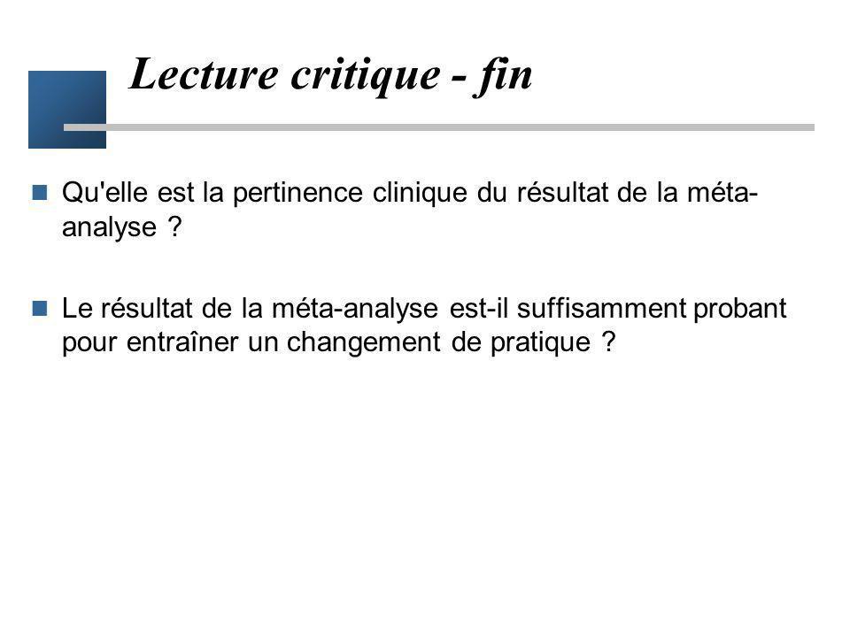 Définition de la méta-analyse Synthèse –répondant à une question précise –Démarche de confirmation Exhaustive –arguments en faveur et en défaveur de l