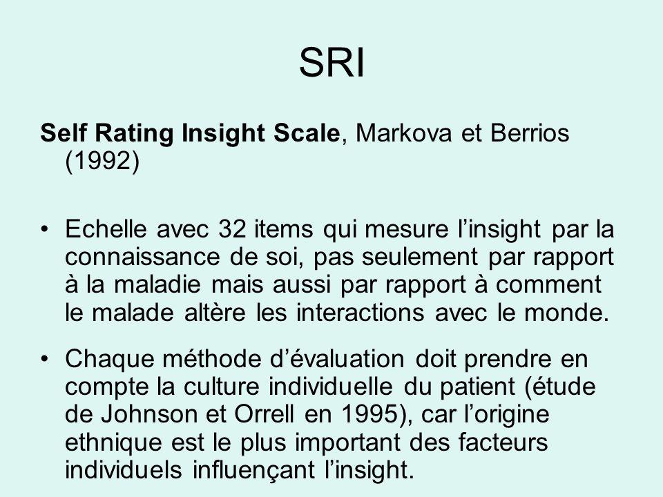 SRI Self Rating Insight Scale, Markova et Berrios (1992) Echelle avec 32 items qui mesure linsight par la connaissance de soi, pas seulement par rappo
