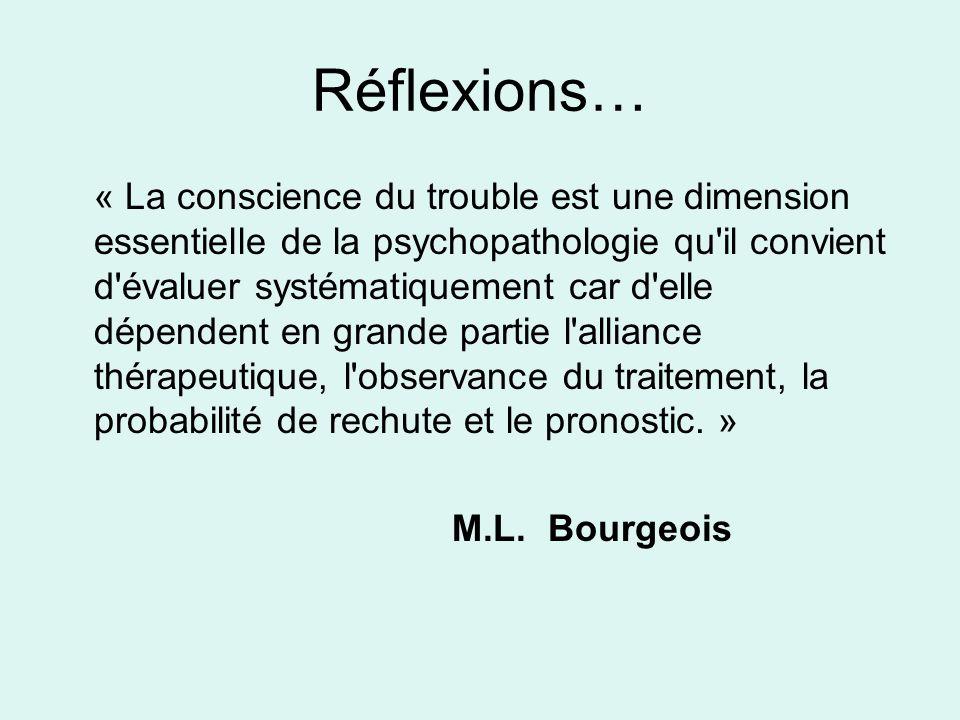 Réflexions… « La conscience du trouble est une dimension essentielle de la psychopathologie qu'il convient d'évaluer systématiquement car d'elle dépen