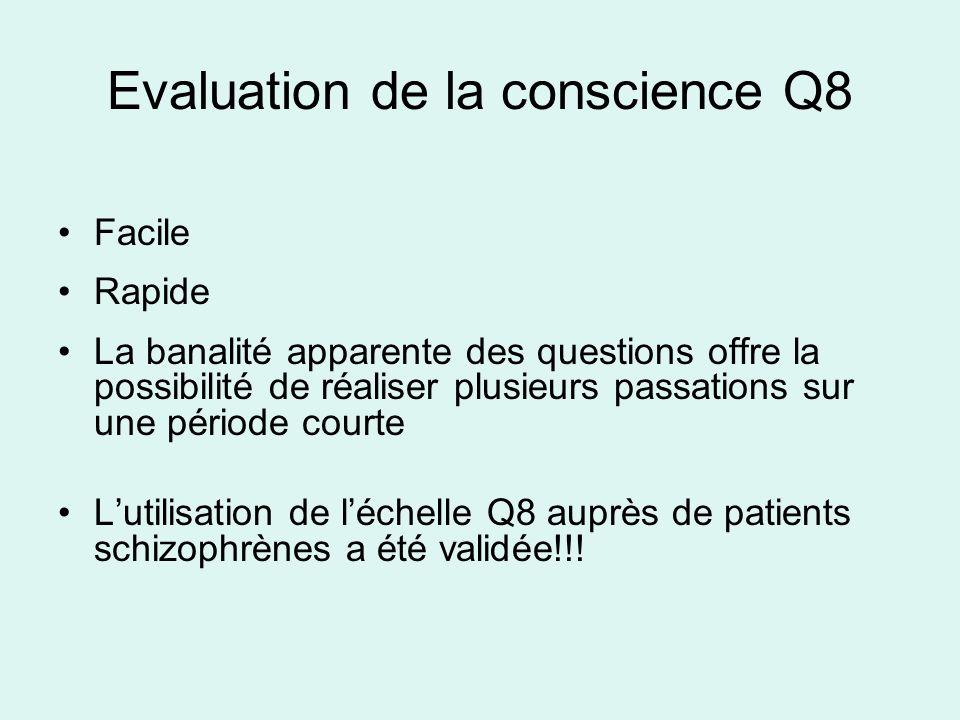 Evaluation de la conscience Q8 Facile Rapide La banalité apparente des questions offre la possibilité de réaliser plusieurs passations sur une période
