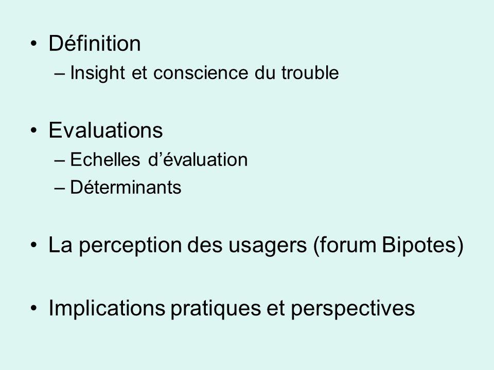 SUMD Scale to assess Unawareness of Mental Disorder, Amador et Strauss (1994) Mesure multidimensionnelle de linsight validée et étudiée.